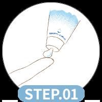 使用方法1:指やスポンジに適量(1㎝弱)取ります。